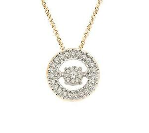 Twinkle Diamond Necklace 10K Yellow Gold Circle Floating Diamond Pendant .10ct