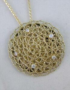 FANCY DESIGNER DIAMOND FLOATING CIRCLE 14K Y GOLD ROUND NECKLACE ITALY 17