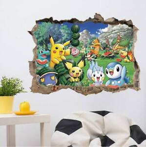 US 3D Wall Stickers Pokemon Pikachu Cartoon Room Decal Wallpaper Removable $8.99