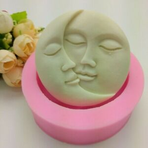Sun & Moon Faces Round Silicone Soap Molds Craft DIY Handmade Cake Candle Mould