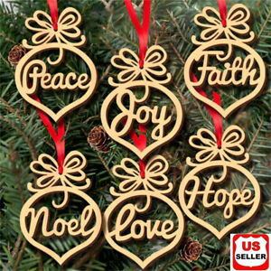 6 Pcs Christmas Decorations Wooden Ornament Xmas Tree Hanging Pendant Ornament