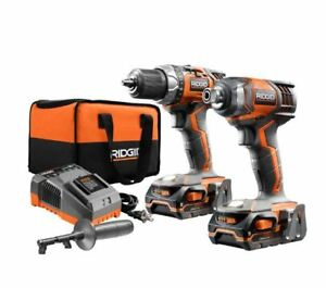 Cordless Drill and Impact Driver Power Tool Combo Kit Set 18-Volt Construction