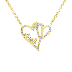 0.17 CT 14K Yellow Gold Double 2 Hearts Floating Round Diamond Pendant Necklace