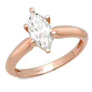 1.5 Ct Marquise Cut Solitaire Diamond Engagement Ring Solid 14K Rose Pink Gold