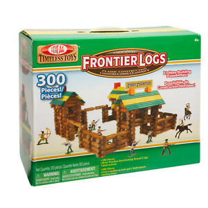 * Ideal Frontier Logs 300 Piece Real Wood Construction Set w Action Figures