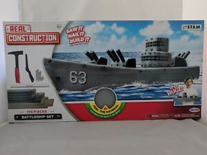 BATTLESHIP REAL CONSTRUCTION SET 170 PIECES SAW NAIL BUILD IT STEM