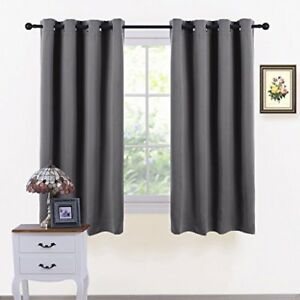 PONY DANCE Grey Window Curtains - Blackout Window Covering Thermal Grommet Top 2