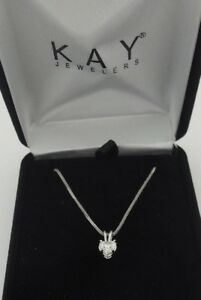 Kay .5 12 Ct Heart Brilliant Cut Diamond Pendant Necklace 14k White Gold 18-20
