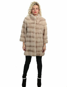 MINK FUR COAT WITH FLAMINGO HORIZONTAL PROCESSING AND NECK piping