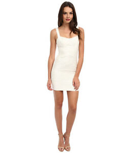 BCBG Rivas Gardenia White Ivory Cocktail Dress Bandage Bodycon 2 XS