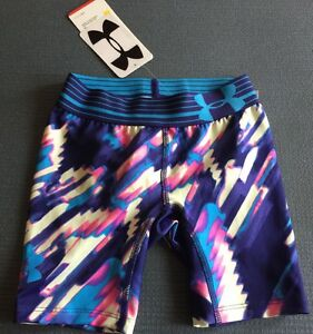 New Under Armour Youth Girls Xsmall Blue Fitted Gym Athletic Shorts $25 Leggings