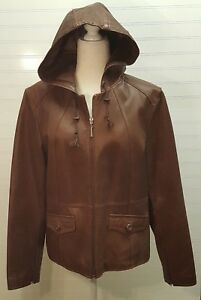 ANA Womens Large Brown Leather Hooded Zip Jacket coat hoodie VGC
