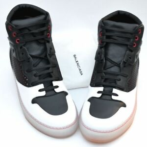 BALENCIAGA New sz 44 - 11 Auth Designer Mens High Top Sneakers Shoes white black