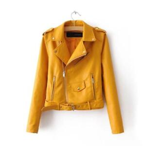 Womens Ladies Casual Leather Jacket with Zipper Tops Long Sleeve Coat