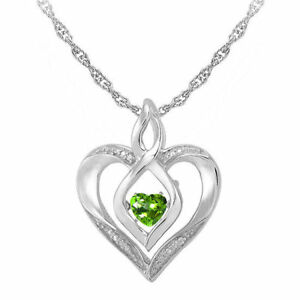 LOVE IN MOTION™ GENUINE PERIDOT AND DIAMOND-ACCENT HEART PENDANT NECKLACE