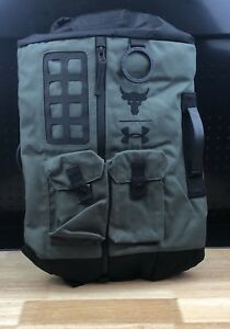 New UA X Under Armour Project Rock DJ 60 Green Military Duffle Bag Backpack Camo