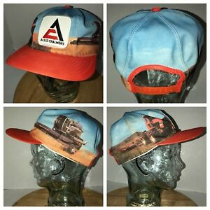 VTG ALLIS CHALMERS 70s USA Louisville MFG CO ALL OVER GRAPHICS Hat Cap Snapback