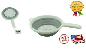 Kitchen Folding Collapsible Space Saving Silicone Colander Strainer BPA FREE