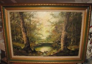 Forest Oil Painting Signed