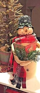 Primitive Snowman Caroler w Songbook Handmade 20 inches tall! Christmas Country