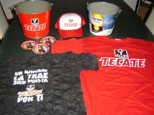 PAQUETE BEER TECATE CORONA EXTRA Metal Ice Bucket t-shirts serving gorra 8 items