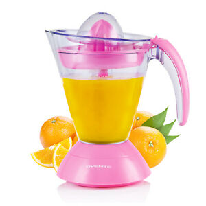 Ovente Electric Orange and Lemon Juicer with Auto Reversing Cones, Pink JE1034P
