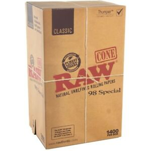 RAW 98mm Special Unbleached Pre Rolled Paper Cones 1400Box