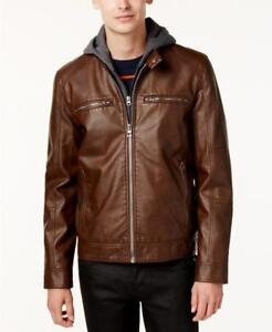 $225 GUESS Men's Brown Faux Leather Motorcycle Jacket Small hsr26-288