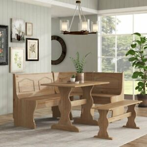 3-Piece Corner Breakfast Nook Dining Set w Bench Solid Wood Kitchen Furniture