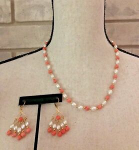 Classic Freshwater Pearl Coral Necklace Dangle Earring Set Gold Tone Beads
