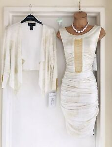 FRANK LYMAN Ivory Gold Chain Detail 2 Piece Outfit Ruched Dress