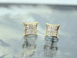 Diamond Square Pave Screw Back Men's Stud Earrings 10K Yellow Gold 0.18TCW