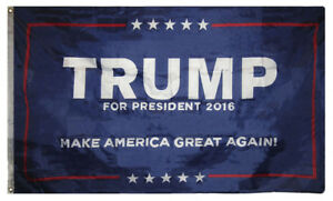 3x5 Trump For President 2016 Make America Great Blue Grommets Collectors Item