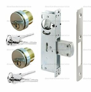 ADAMS RITE TYPE COMMERCIAL STORE FRONT DEADLOCK w/ SOLID BRASS LOCK CYLINDERS