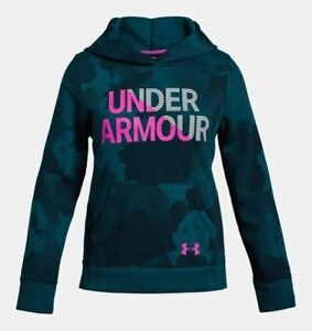 Under Armour Girls Armour Rival Fleece Wordmark Hoodie - YSM - 1317839-490 - NWT