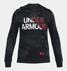 Under Armour Girls Armour Rival Fleece Wordmark Hoodie - YSM - 1317839-001 - NWT