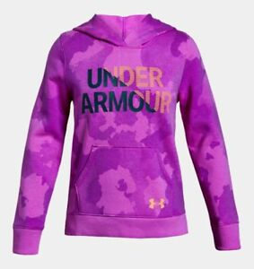 Under Armour Girls Armour Rival Fleece Wordmark Hoodie - YXL - 1317839-565 - NWT