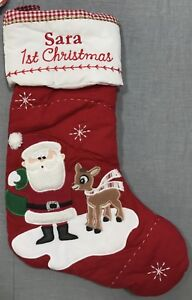 """Pottery Barn Kids Baby#x27;s First Christmas Quilted Stocking""""Sara"""" Monogram"""