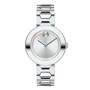 Movado Women's Swiss Bold Silver Stainless Steel Bracelet Watch 32mm 3600381