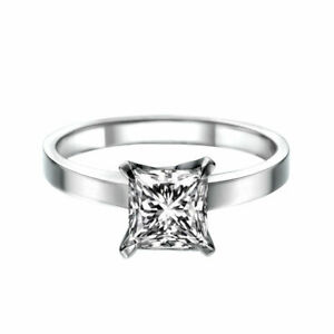 3 Ct D VS1 Diamond Engagement Ring 14K White Gold Princess Genuine Gift
