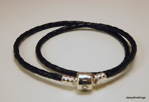 NEWTAGS AUTHENTIC PANDORA SILVER LEATHER BRACELET BLACK #590705CBKD1 35CM