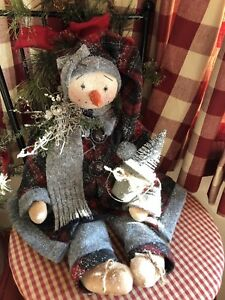 PRIMITIVE SNOWMAN DOLL WINTER RED PLAID WOOL VINTAGE  BUTTON BOTTLE BRUSH TREE