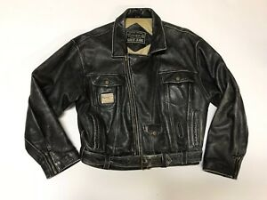 Vintage GUESS Jeans Men's M Leather Motorcycle Jacket Black Georges Marciano