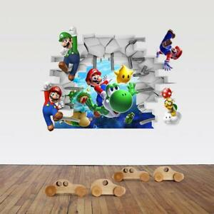 US 3D Wall Stickers Super Mario Cartoon Room Decal Wallpaper Removable $9.99