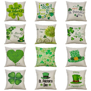 St. Patrick#x27;s Day Cotton Linen Cushion Cover Throw Pillow Case Sofa Home Decor $3.71