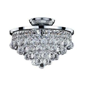 6 Light Flushmount Chrome Faceted Crystal Ball 13 In Flush Mount Ceiling Fixture