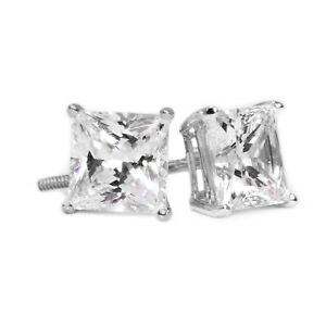 2 Ct Princess Cut Diamond Earrings in Solid 18k White Gold Screw Back Studs