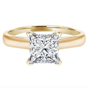 1.5 Ct Princess Cut Solitaire Diamond Engagement Ring in Solid 14K Yellow Gold