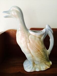 Antique Majolica Pottery Duck Absinthe Pitcher~Possible St Clements Canard Mark