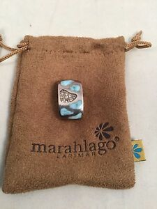 MarahLago Larimar Sterling Silver Surf Collection Pendant With White Topaz